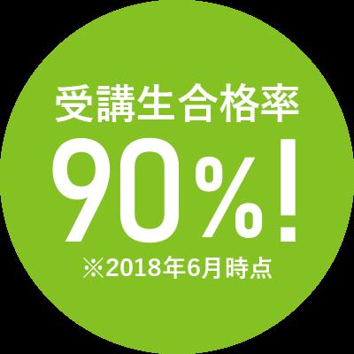 受講者合格率90%!※2018年6月時点